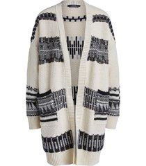 gebreid vest met aztekenprint polly  naturel