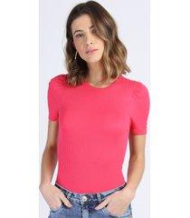 blusa feminina canelada manga curta bufante decote redondo pink