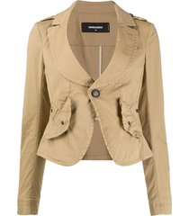 dsquared2 fitted scoop neck jacket - neutrals