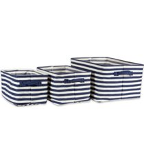 design imports polyethylene coated herringbone woven cotton laundry bin stripe french rectangle set of 3