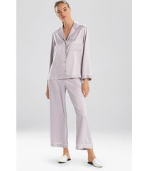 natori feather satin essentials pajamas, women's, silver, size l natori