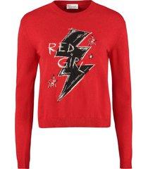 red valentino intarsia crew-neck sweater