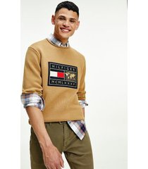 tommy hilfiger men's icon world badge sweater countryside khaki - xl