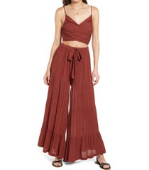 free people sun set crop top & pants set, size large in cherry mahogany at nordstrom