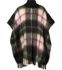 jil sander oversized fringed checked cape - black