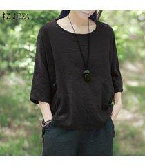 zanzea crew collar de tres cuartos de la manga blusas mujeres purple otoño ocio irregular rayas algodón largas con estilo top de la blusa negro -negro
