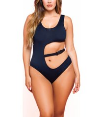 women's katlyn one piece plus size microfiber bodysuit with belted cut out waist