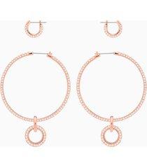 set orecchini a buco stone, rosa, placcato oro rosa