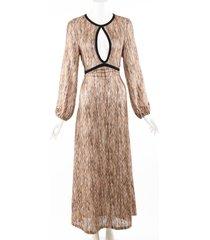 rixo rixo iris spaced dye brown lurex keyhole maxi dress black/brown sz: l