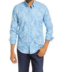 men's robert graham colby print trim fit button-up shirt, size x-large - blue/green
