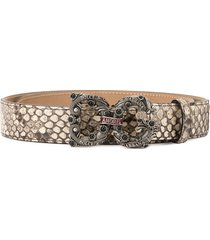 dolce & gabbana snake effect logo plaque belt - neutrals
