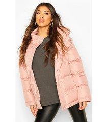 high shine oversized hooded puffer jacket, blush