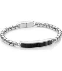 sterling silver baja men's large bracelet black onyx