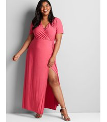 lane bryant women's knit kit crossover maxi dress 18/20 carmine pink