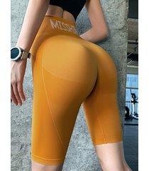 leggings deportivos de talle alto con letras súper elásticas