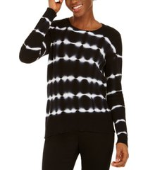 inc petite cotton tie-dyed striped sweater, created for macy's