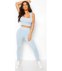 basic high waist legging, pale blue
