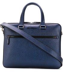 salvatore ferragamo textured leather laptop case - blue