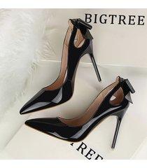 pp255 elegant bowtie pointy pump, patent leather us size 4-8, black