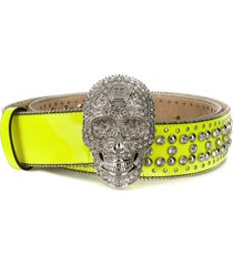 philipp plein crystal skull belt - yellow