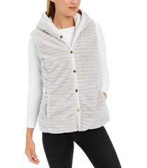 charter club faux-fur hooded reversible vest, created for macy's