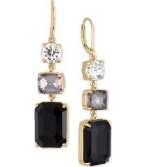 rachel rachel roy gold-tone crystal & stone triple drop earrings