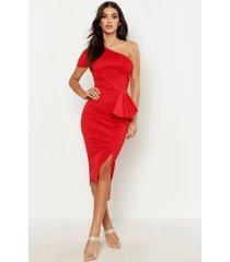 midi jurk met split en één open schouder, rood