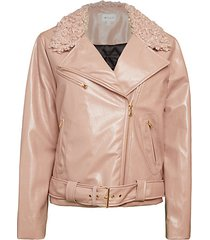oversized faux shearling collar motorcycle jacket