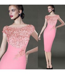 womens elegant floral applique party cocktail formal bridesmaid bodycon dress