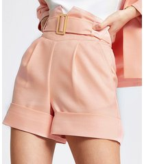 river island womens coral high corset belted waist shorts