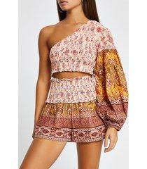 river island womens orange floral shirred beach shorts