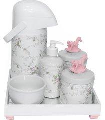 kit higiene espelho completo porcelanas, garrafa e capa cavalinho rosa quarto beb㪠menina - rosa - menina - dafiti