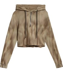women's cotton citizen brooklyn half zip crop hoodie, size medium - grey