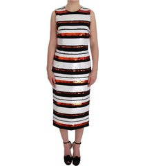 multicolored striped sequined stretch dress