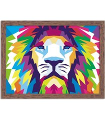 quadro decorativo animal leão abstrato colorido moderno madeira - médio
