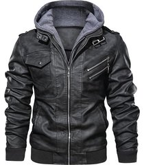 chaqueta cuero pu hombres casual motociclista sa722 gris