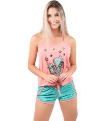 baby doll bella fiore modas pijama gabriela regata coral - tricae