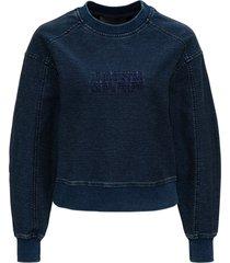 alberta ferretti blue cotton sweatshirt with logo