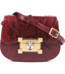 gucci osiride red snakeskin shoulder bag red/animal print sz: m