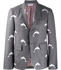 thom browne dolphin embroidery blazer - grey