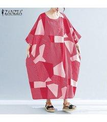zanzea más el tamaño de la raya de las mujeres del vestido de cuello redondo larga floja camisa a cuadros vestido maxi tops -rojo
