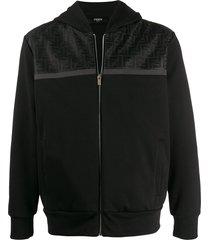 fendi ff mesh panel hoodie - black