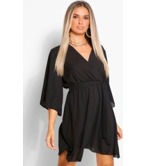 flute sleeve belted skater dress, black