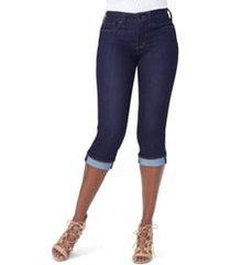 petite women's nydj marilyn crop cuff jeans, size 4p - blue