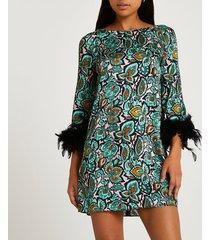 river island womens green floral print feather cuff shift dress