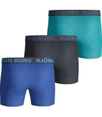 bjorn borg boxershort 3-pak seasonal solid blauw-groen