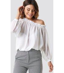 na-kd boho asymmetric neckline blouse - white