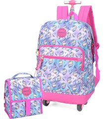 kit mochila de rodinha 360 e lancheira unicornio up4you luxcel 51267 rosa
