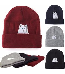 diy 2017 winter warm woolen middle finger cat hip hop beanie knitted hat women m