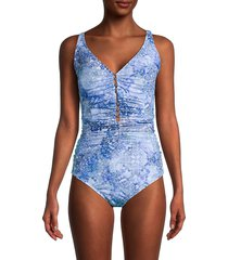 x by gottex women's beaded one-piece swimsuit - blue - size 42 (12)
